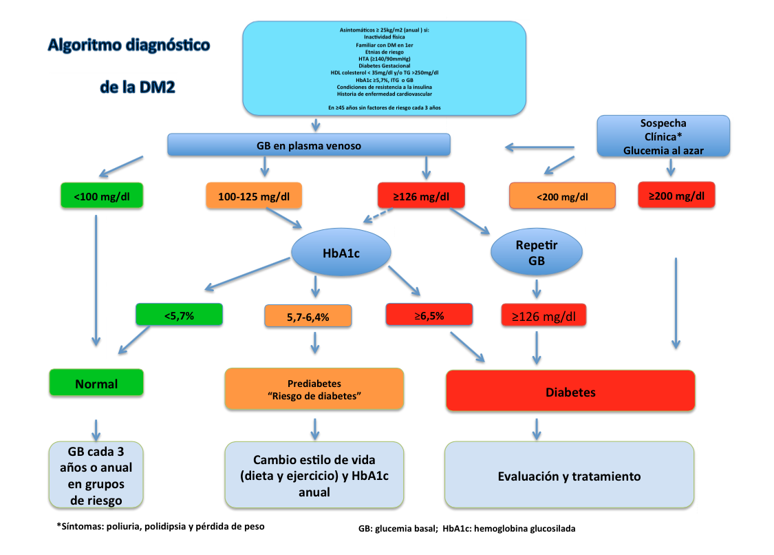 diagnóstico de diabetes tipo 1 y 2